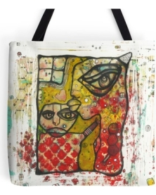 funky-colorful-tote-bag-unique-beach-bag-grocery-bag-art-bag-mixed-media-art-tote-computer-bag-gym-bag-artist-tote-bags-faces-bag-kiss-bags