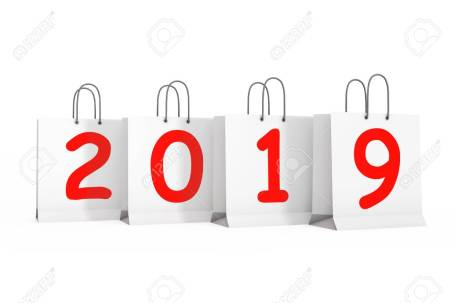 Shopping Bags with 2019 New Year Sign. 3d Rendering
